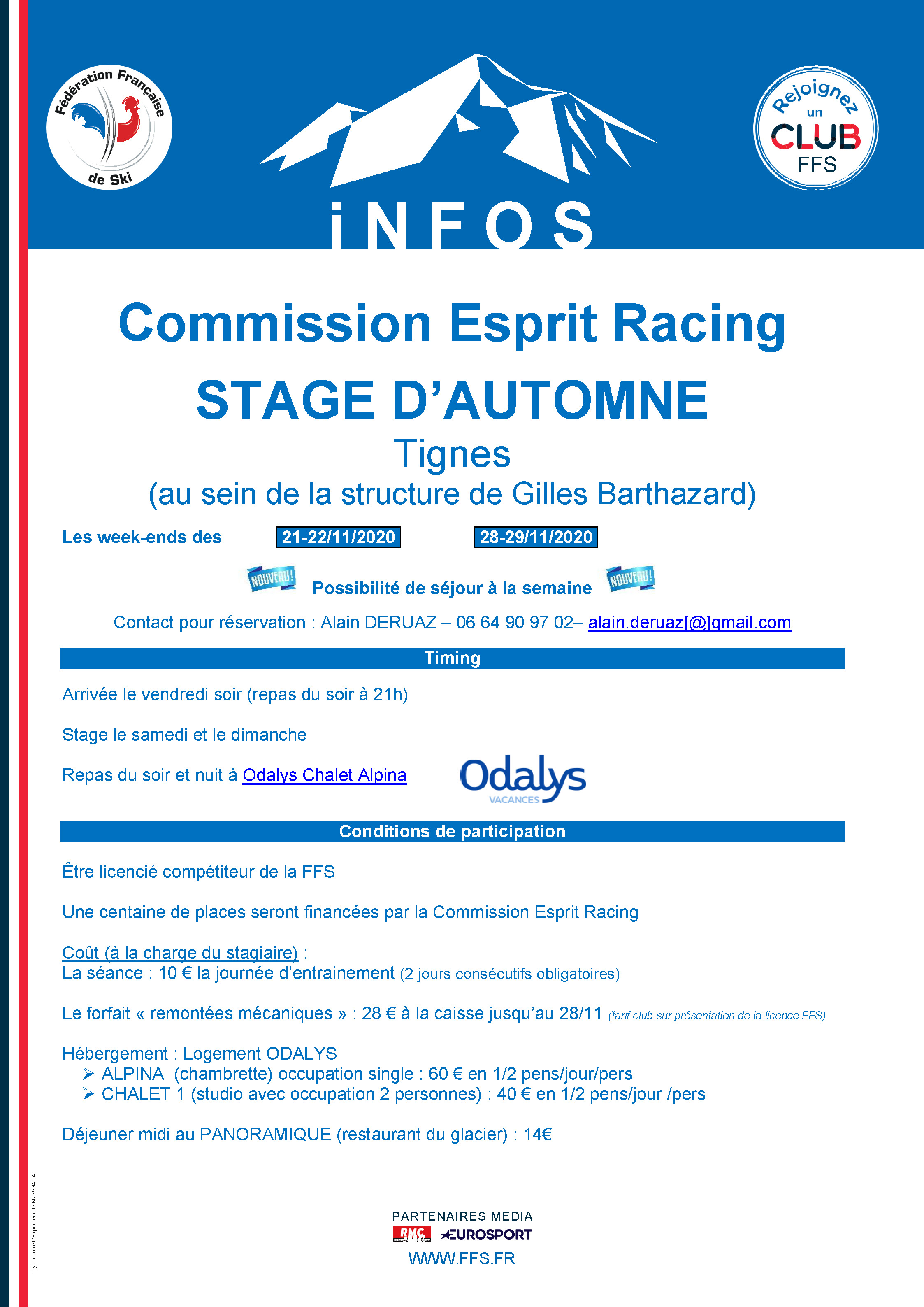Stages Tignes 2020